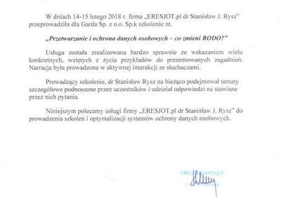 Referencje dla ERESJOT.pl od GARDA Rzeszów