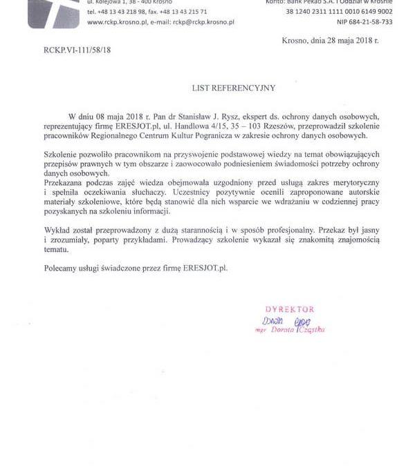 Referencje dla ERESJOT.pl od Regionalnego Centrum Kultur Pogranicza