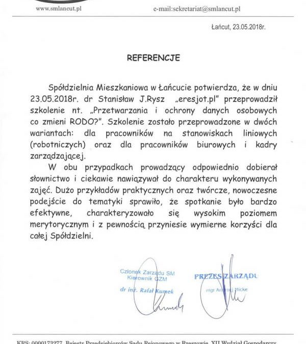 Referencje dla ERESJOT.pl od Spółdzielni Mieszkaniowej w Łańcucie