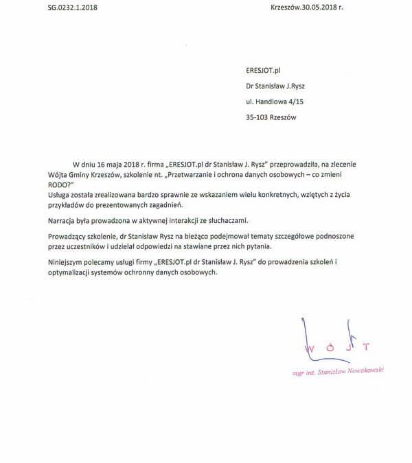 Referencje dla ERESJOT.pl od Urzędu Gminy Krzeszów